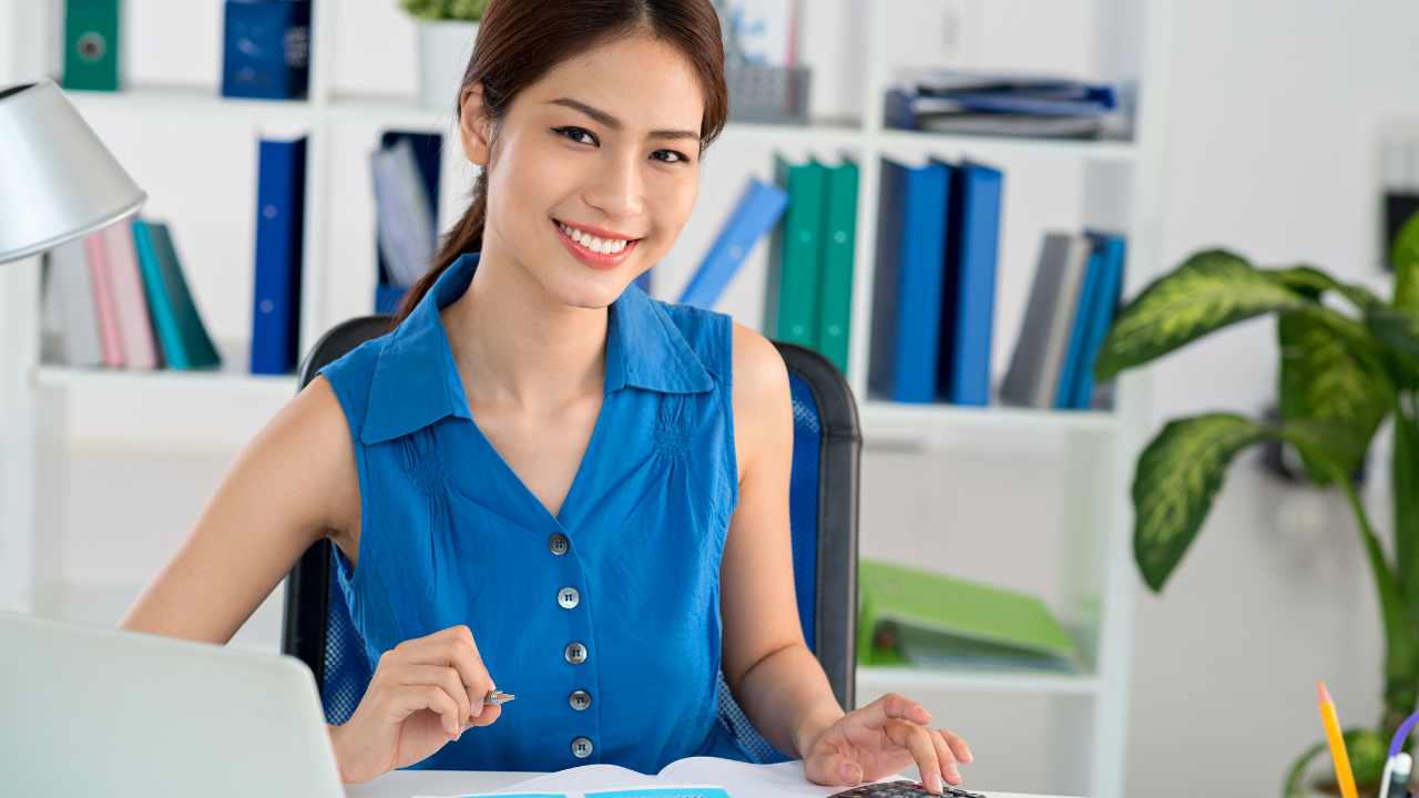 accounting manager working on utility billing software